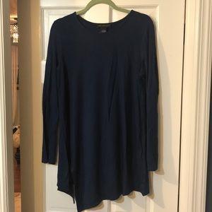 Indigo blue asymmetrical top